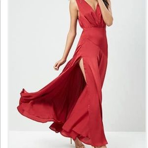 Satin Surplice Maxi Dress